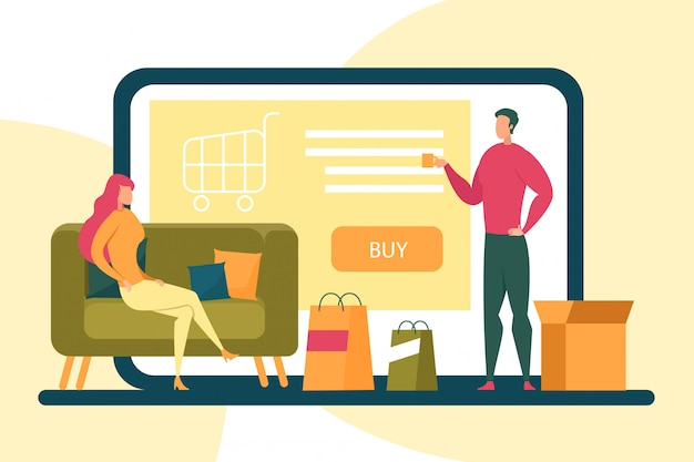 Femme assise sur un canapé acheter en ligne de home illustration