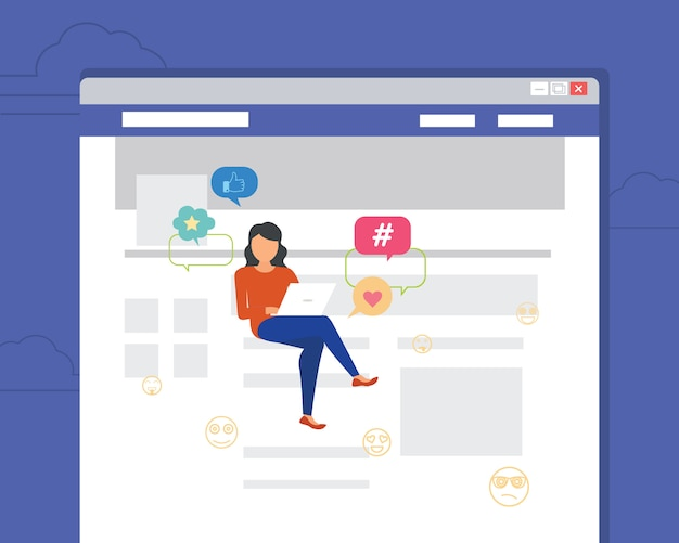 Femme assise dans la page à l'aide d'un ordinateur portable pour la lecture de nouvelles
