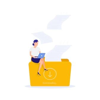 Femme assise sur un dossier de téléchargement de travail