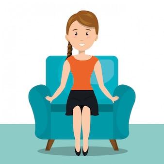 Femme assise sur l'icône du canapé