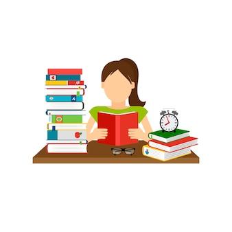 Femme assise et livre de lecture