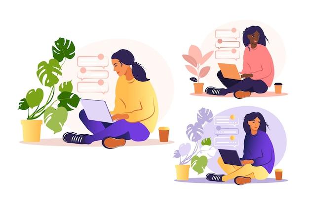 Femme assise avec ordinateur portable. illustration de concept pour travailler, étudier, éducation, travail à domicile, mode de vie sain. peut être utilisé pour les arrière-plans, les infographies, les images de héros. plat. .