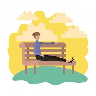 Femme assise en personnage de chaise de parc avatar