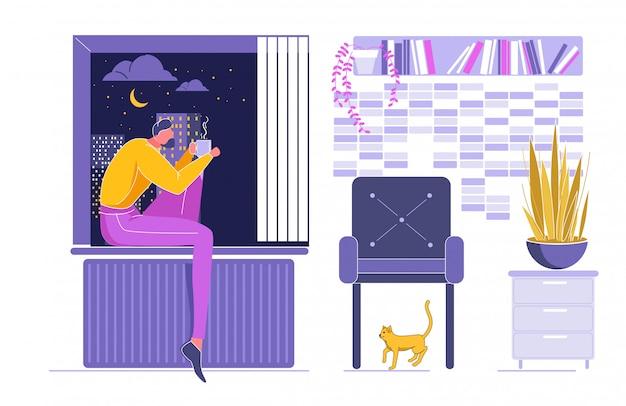 Femme assise sur un rebord de fenêtre et un rêve avec une tasse.
