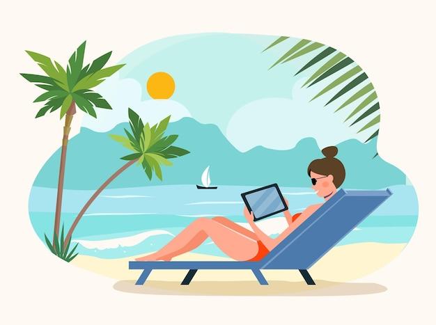 Femme assise sur le transat avec tablette. illustration vectorielle