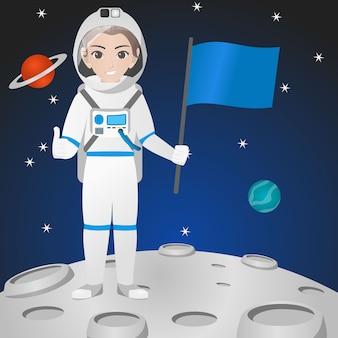 Femme, astronaute, tenue, casque