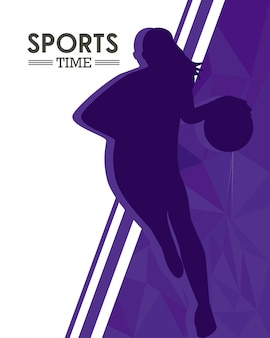 Femme athlétique pratiquant la silhouette du sport de basket-ball
