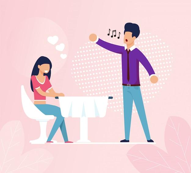 Femme au café est tombé amoureux de la chanteuse du restaurant