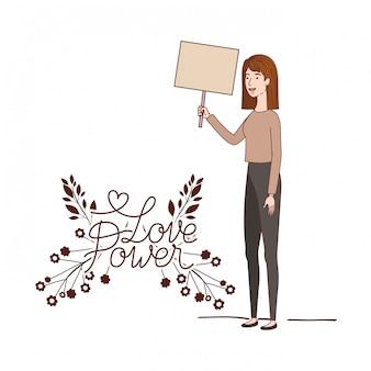 Femme au caractère d'amour de l'étiquette