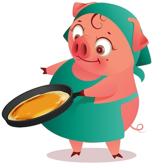 Femme au foyer cochon femelle cuit des crêpes dans la casserole