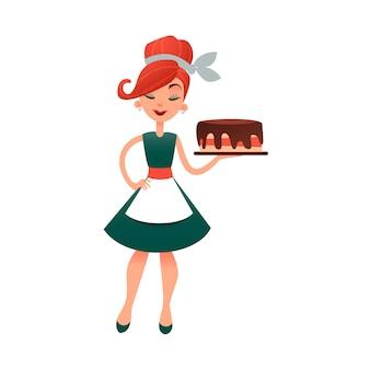 Femme au foyer drôle de bande dessinée avec gâteau