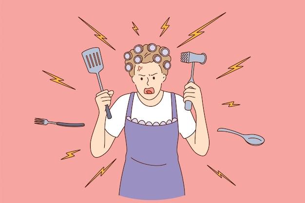 Femme au foyer folle à la maison concept.