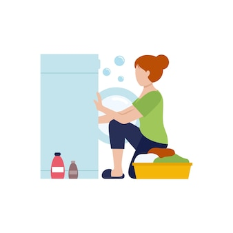 La femme au foyer met des vêtements dans la machine à laver. laver les vêtements avec de la poudre. caractère plat de vecteur. nettoyage de l'appartement pendant la quarantaine.