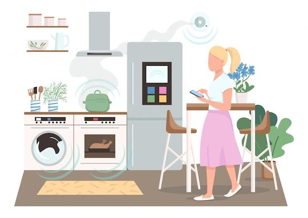 Femme au foyer moderne, caractère sans couleur de couleur plate. télécommande automatisée pour les appareils électroménagers. femme dans la cuisine intelligente illustration de dessin animé isolé pour la conception graphique et l'animation web