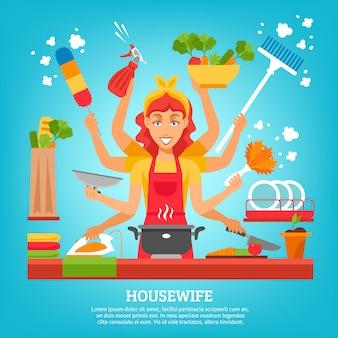 Femme au foyer multitâche à huit mains