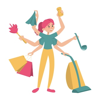 Femme au foyer multitâche avec de nombreuses mains