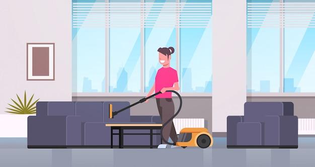 Femme au foyer, nettoyage, fauteuil, à, aspirateur, sourire, girl, faire, ménage, appartement, moderne, appartement, salon, intérieur, femme, dessin animé, caractère