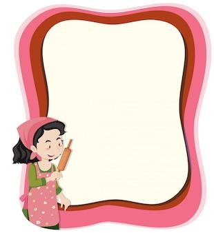 Une femme au foyer sur une note avec fond