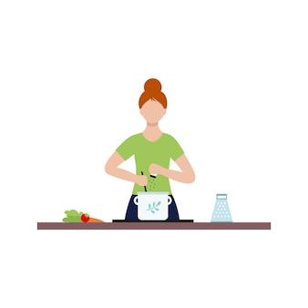 Une femme au foyer prépare une soupe dans la marmite. une jeune femme est engagée dans la cuisine. caractère vectoriel dans un style plat.