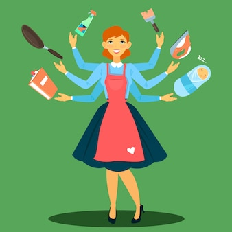 Femme au foyer réussie. femme multitâche. épouse parfaite. jeune mère.
