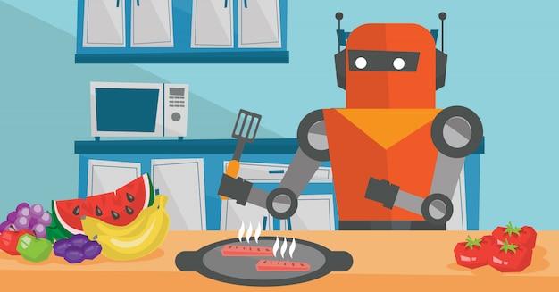 Femme au foyer robot prépare le petit déjeuner à la cuisine.