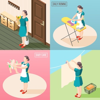 Femme au foyer torturée 2x2 concept ensemble de tâches quotidiennes de routine afin que le soin du bébé repasse le linge isométrique