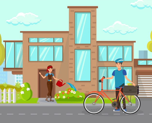 Femme au foyer voeux mari illustration vectorielle