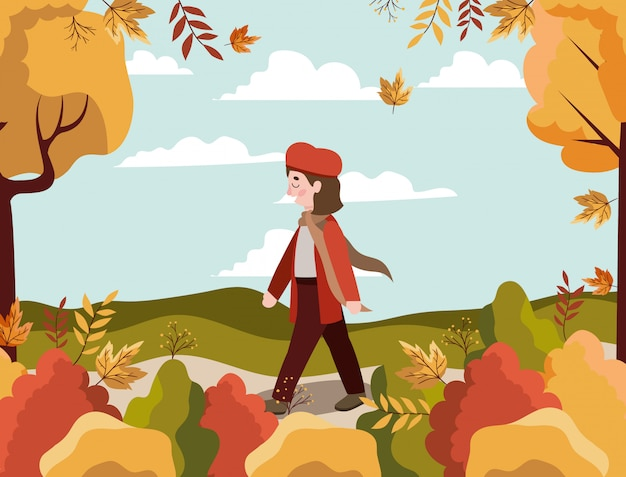 Femme, automne, fond