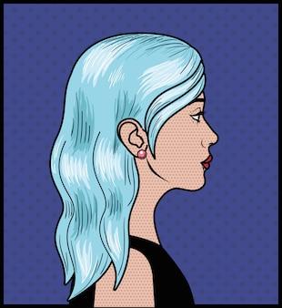 Femme aux cheveux bleus style pop art