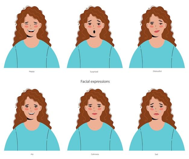 Femme aux cheveux bouclés avec un ensemble différent d'expressions faciales.