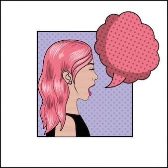 Femme aux cheveux roses et style bulle pop art