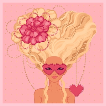 Femme aux longs cheveux blonds en illustration de style baroque
