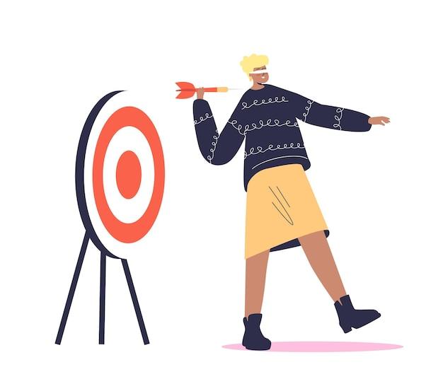 Femme aux yeux bandés tenant une flèche et à la recherche de cibler dans la mauvaise direction. concept de décision erroné. personnage féminin de dessin animé aux yeux pliés.
