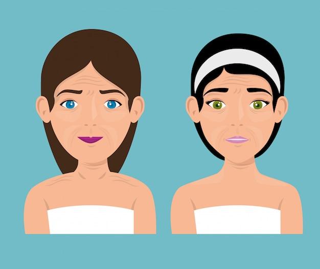Femme avant et après traitement cutané