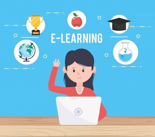 Femme avatar et apprendre en ligne