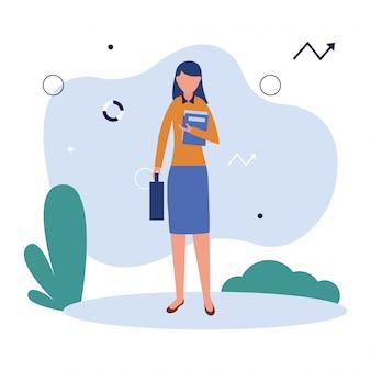 Femme avatar avec documents et valise