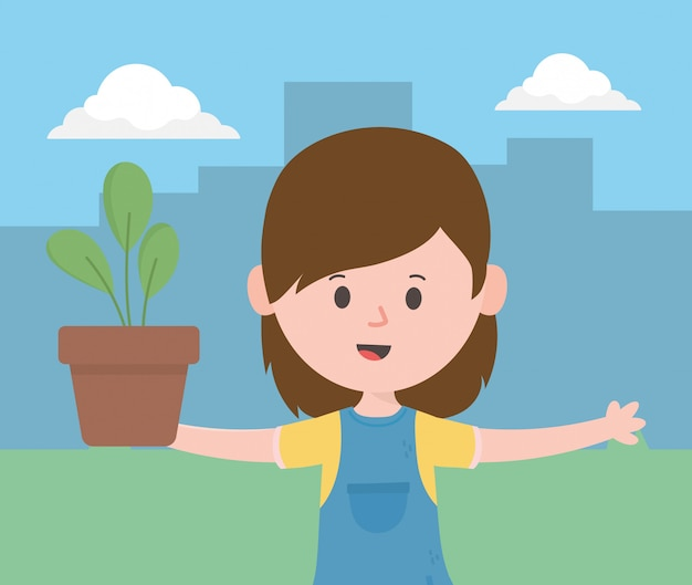 Femme avatar avec plante