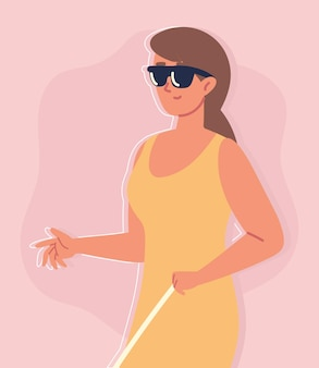 Femme aveugle avec des lunettes de soleil
