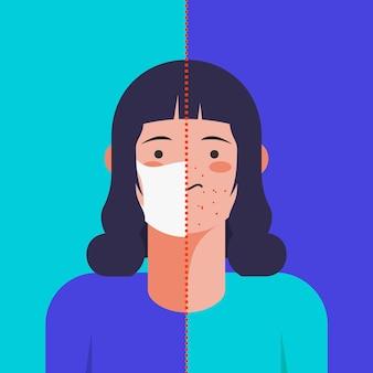 Femme ayant des problèmes d'acné causés par un masque médical