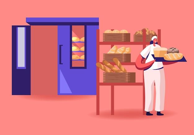 Femme baker en uniforme stérile et chapeau tenant le plateau avec divers miches de pain frais cuits au four juste pris du four. illustration plate de dessin animé