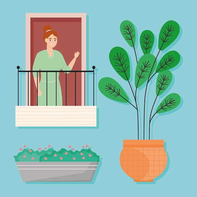 Femme sur balcon avec des icônes