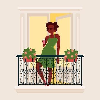 Femme, balcon