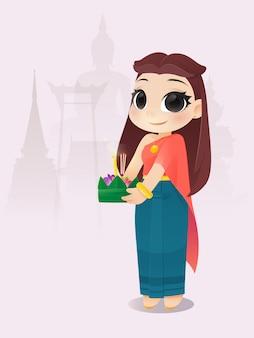 Femme de bande dessinée avec le festival loy krathong