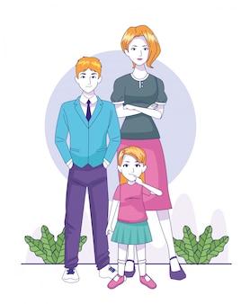 Femme de bande dessinée avec garçon adolescent et petite fille