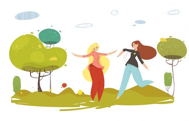 Femme de bande dessinée heureuse reposant sur la nature