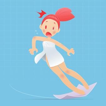 Femme de bande dessinée portant une serviette blanche glissant dans les toilettes. illustration vectorielle et conception de personnage de dessin animé.