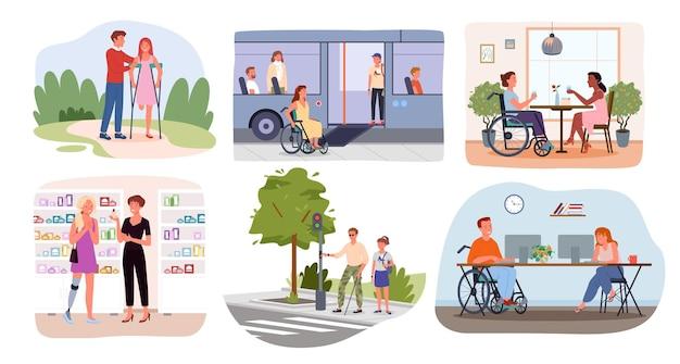 Femme de bande dessinée avec prothèse et en fauteuil roulant fille aveugle sur des béquilles isolées sur blanc