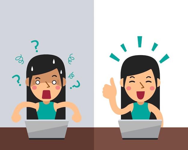 Femme de bande dessinée vectorielle exprimant différentes émotions