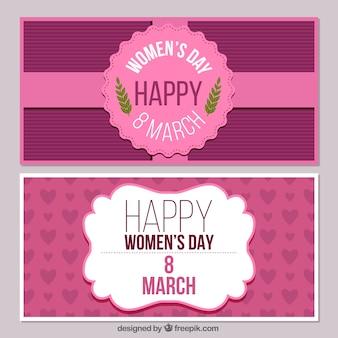 Femme bannières jour rose