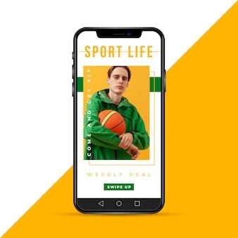 Femme, à, basket-ball, instagram, histoire